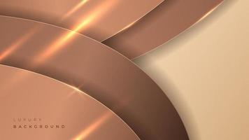 Abstract golden luxury modern round shape background. 3d gold banner vector illustration.