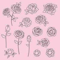 hand drawn roses digital stamps vector