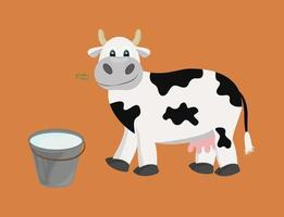 White cow with black spots isolated Vector illustration Cartoon cow is chewing grass