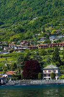 Province of Como, Italy, 2021 - View of the town of Mezzegra from the lake photo