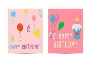 Set of cute creative birthday card templates vector
