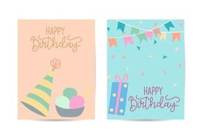 Birthday greeting card with party objects vector