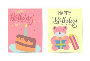 Set of cute creative birthday card templates. Hand Drawn card for birthday, party invitations, scrapbook, summer holidays. vector
