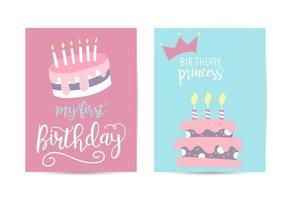Greeting card happy birthday illustrations vector