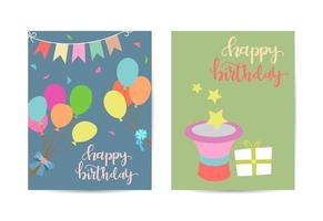 Two variants of different greeting cards. Happy birthday celebration vector