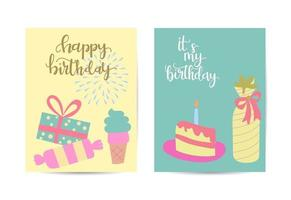 Vector illustration set of colorful gifts in birthday banners