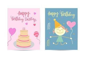 Birthday party brochure templates set. Anniversary celebration invitation concept with flat illustrations. vector