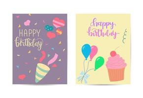 Happy birthday greeting card for kid with congratulations, cake, balloons and party celebration vector illustration