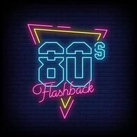 Vector de texto de estilo de letreros de neón de flashback de los 80