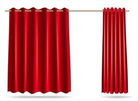 Set of red curtain locker rooms cover vector
