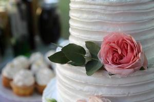 Beautiful wedding cake decorated with fresh flowers and leaves photo