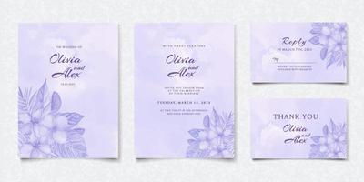 Set of watercolor purple floral wedding invitation card