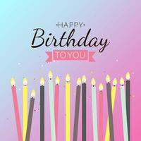 Color Glossy Happy Birthday Banner Background with Candles vector