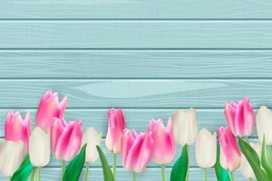 Realistic Vector Illustration Colorful Tulips Background