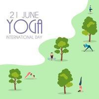 fondo del día internacional del yoga 21 de junio vector