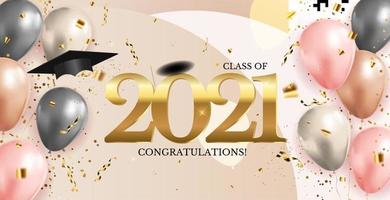 Graduation class of 2021 with graduation cap hat and confetti vector