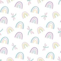 lindo arco iris y libélula de patrones sin fisuras. patrón escandinavo en colores pastel apagados. ilustración vectorial dibujada a mano. diseño para textiles, embalajes, envoltorios vector