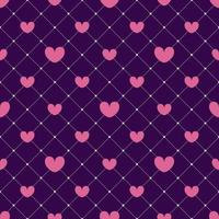 Pink hearts on a dark mesh background seamless pattern. Valentines day design, invitation cards, wrapping paper, textiles, wedding decorations. vector