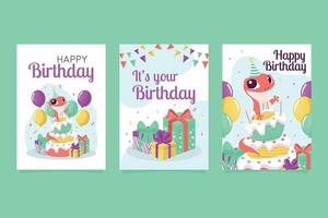 Colorful Birthday Cards Vector