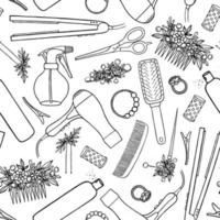 SEAMLESS BACKGROUND WITH DRAWN HAIR CLIPS AND BARBER TOOLS ON A WHITE BACKGROUND vector