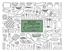 A BIG COLLECTION OF FOOD PREPARATION ITEMS ON A WHITE BACKGROUND vector