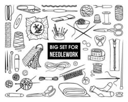 Un conjunto de herramientas y accesorios para costura sobre un fondo blanco. vector