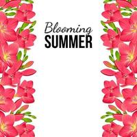 pancarta blanca con flores rosas en los bordes vector