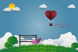 día de san valentín paraguas con silla globos en forma de corazón volando sobre la hierba ver papel de fondo estilo de arte vector