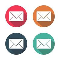 Mail icon with long shadow black on white background Simple design style vector