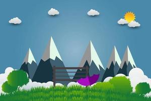 Umbrellas and chair mountains with beautiful sunsets over the clouds vector