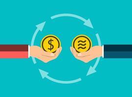 Concepto de moneda empresarial intercambiar monedas de dólar a libra de mano en mano vector