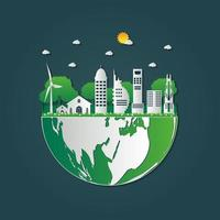Building Ecology Green cities help the world with eco friendly concept ideas vector
