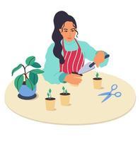 un personaje de niña planta plantas en casa.la mujer sostiene en sus manos la pala del jardín, cultiva plantas y disfruta de la jardinería.cuidado de la planta de interior.hobby.vector ilustración en un estilo de caricatura plana vector