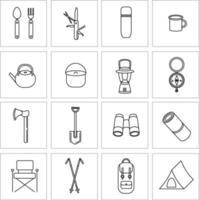 conjunto de iconos vectoriales para camping, viajes y turismo. colección de iconos para caminatas y actividades al aire libre. carpa, linterna portátil, bastones nórdicos, termo, binoculares vector