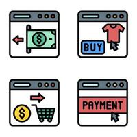 Payment gateway icon set Payment related vector