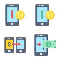 Mobile payment icon set Payment related vector