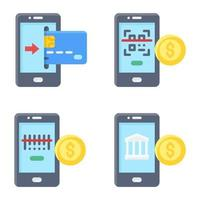 Mobile payment icon set 2 Payment related vector