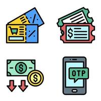 Coupon and Voucher icon set Payment related vector