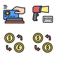 Payment and Money exchange icon set Payment related vector