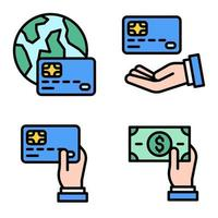 Credit or Debit card icon set 3 Payment related vector