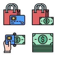 Shopping and Payment icon set Payment related vector
