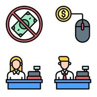 Cashier and Digital payment icon set Payment related vector