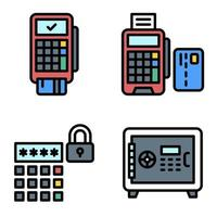 Payment terminal icon set Payment related vector