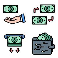 Money and Wallet icon set Payment related vector