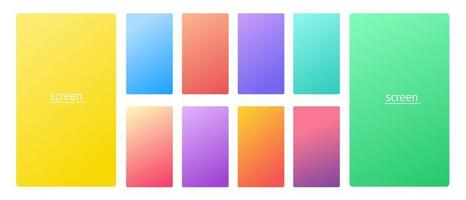 Vibrant and soft pastel gradient smooth color background set for devices pc and modern smartphone screen soft pastel color backgrounds vector ux and ui design illustration