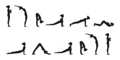 surya namaskar un saludo al sol yoga asanas secuencia conjunto ilustración vectorial vector