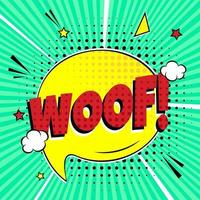 Comic lettering WOOF in the speech bubble comic style flat design Dynamic retro vintage pop art illustration isolated on green rays background Exclamation WOOF vector