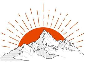 Mountains and sun landscape silhouette illustration vector