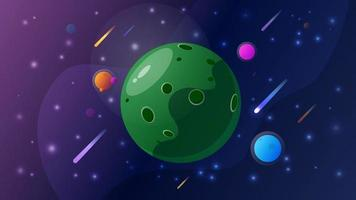 Space with big green planet comets planets and stars vector