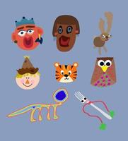 Kids hand drawings set vector